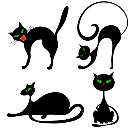 meow: Set of halloween black cat with green eyes. Vector illustration. Illustration