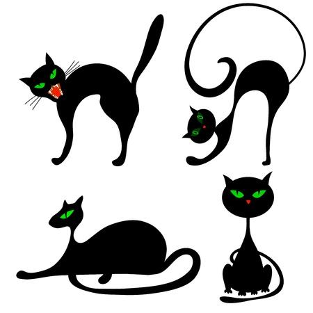 meow: Set of halloween black cat with green eyes. Vector illustration. Illustration