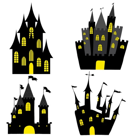 Set of halloween black castle with yellow windows. Vector illustration. Vector