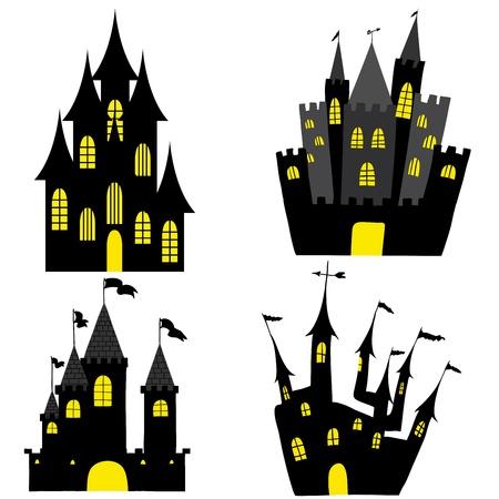 Set of halloween black castle with yellow windows. Vector illustration. Illustration