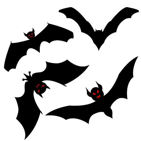 Set of halloween black bat with red eyes. Vector illustration. Vector