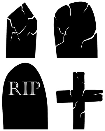 Set of halloween black grave elements. Vector illustration.