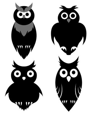 buhos: Set of halloween negro lechuza. Vector ilustraci�n.