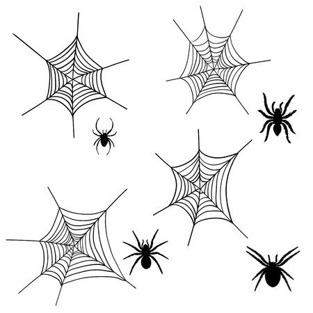spider cartoon: Set of halloween black spider with nets. Vector illustration.