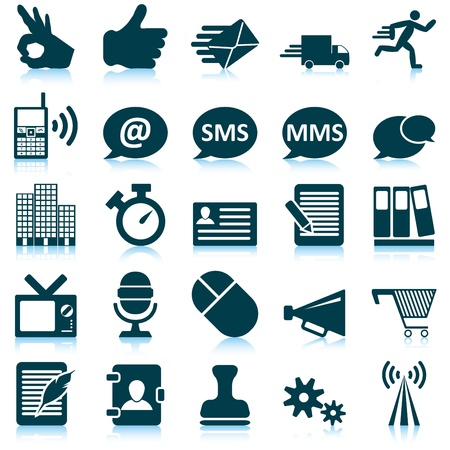 megaphone icon: Office and communication icon set. Vector illustration.