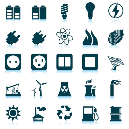 energy buttons: Electricity, power and energy icon set. Vector illustration. Illustration