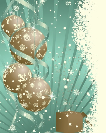 new years eve background: Beautiful Christmas (New Year)retro card.