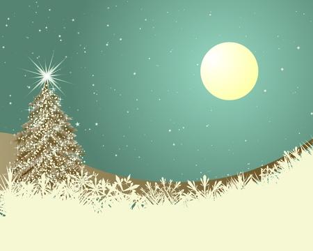 아름다운 크리스마스 (설날) 복고 카드.