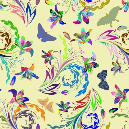 remplissage: Seamless floral pattern. Pour faciliter la r�partition homog�ne il suffit de glisser tous les groupe dans la barre des �chantillons, et l'utiliser pour remplir les contours.