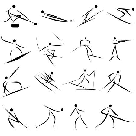 mountain skier: Winter sport games icon set.