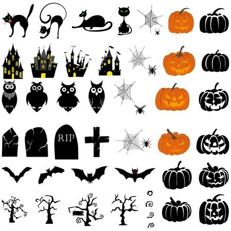 haunted house: Happy Halloween theme icon set Illustration