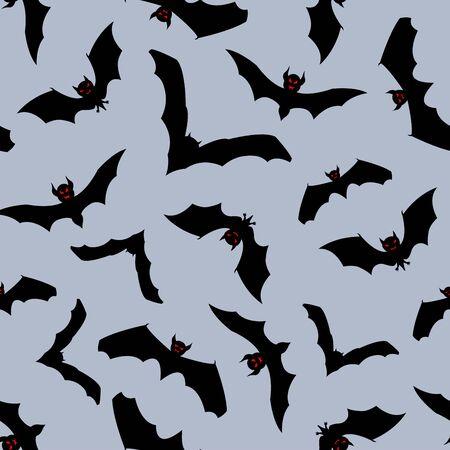 fruit bat: Happy halloween night seamless background. illustration.