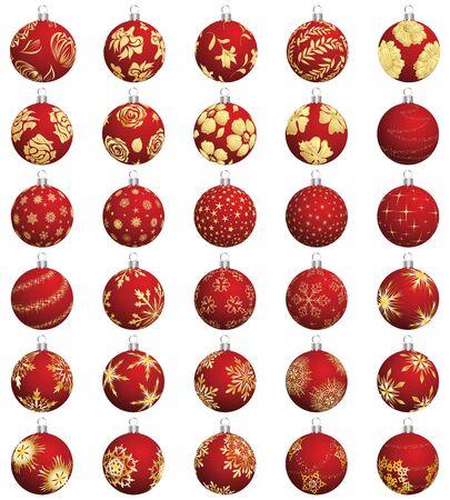 golden years series: Set of Christmas (New Year) balls. illustration. Illustration