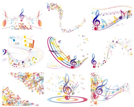 Multicolour  musical notes staff background. illustration with transparency