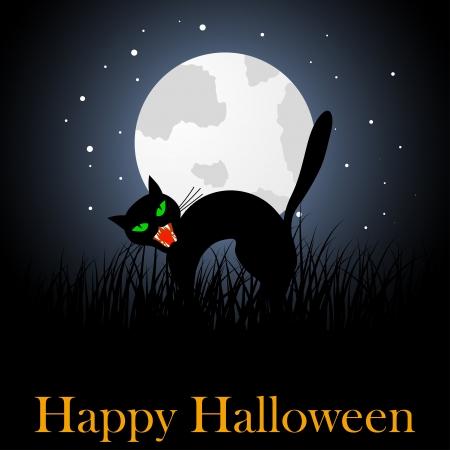 scary face: Happy halloween theme greeting card. illustration. Illustration