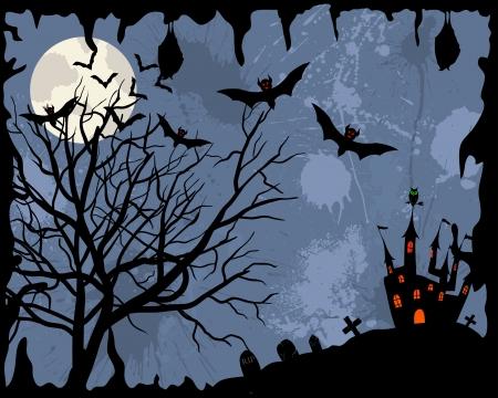 horror castle: Tema Happy halloween saludo tarjeta. ilustraci�n. Vectores