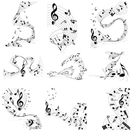 notes music: Musical note staff set. Nine images. illustration.