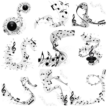 musical notes background: Musical note staff set. Nine images. illustration.