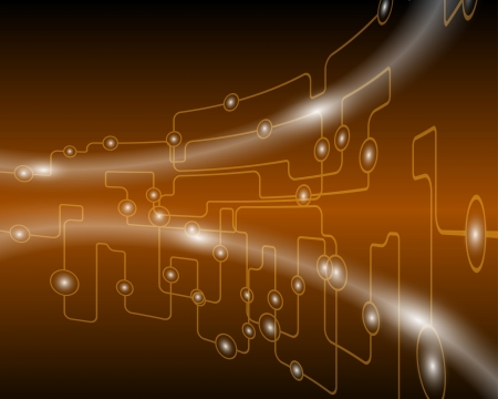 electronic circuit: Technological brown background.illustration with transparency