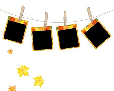 photoframe: Polaroid photo with autumn maple design. Vector illustration.