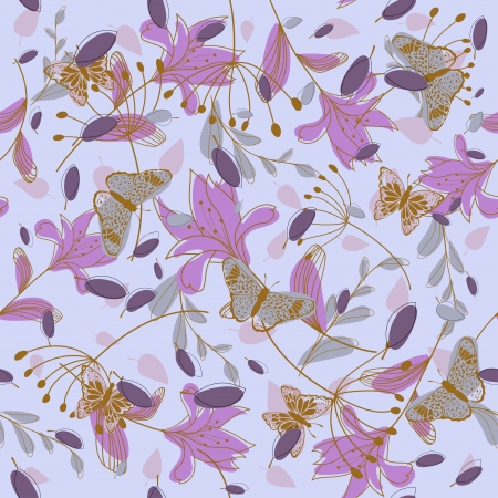 modern garden: Seamless vector floral pattern. For easy making seamless pattern just drag all group into swatches bar, and use it for filling any contours. Illustration