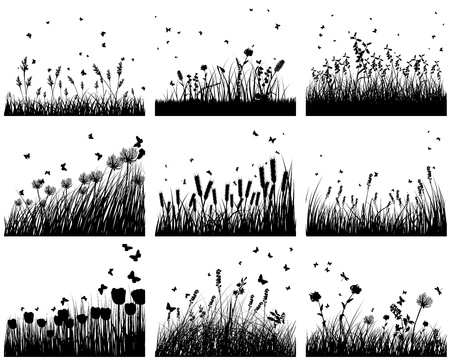 grass silhouette: Set of nine meadow background. Vector illustration. Illustration