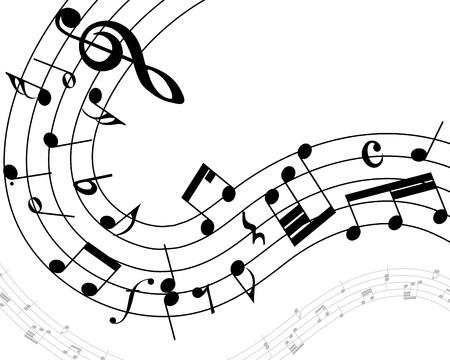 music loudspeaker: Musical note staff with lines. illustration. Illustration
