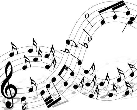 pentagrama musical: Personal Nota musical con líneas. ilustración. Vectores