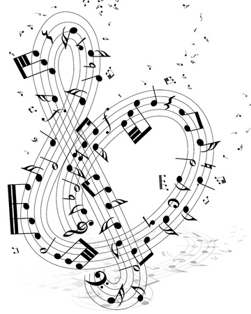 Musical note staff with lines. illustration. Vector