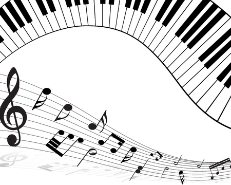 piano keys: Musical note staff with lines. illustration. Illustration