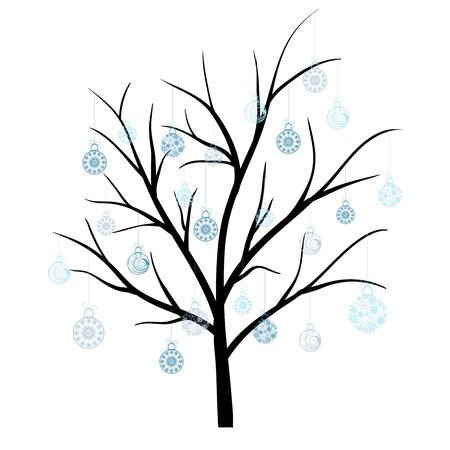autumn trees: Beautiful winter tree with snowflakes leaves. illustration.