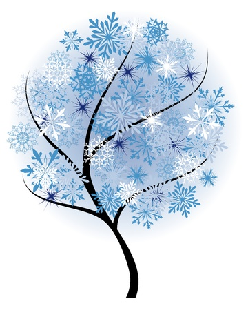 Beautiful winter tree with snowflakes leaves. illustration. Stock Vector - 16082716