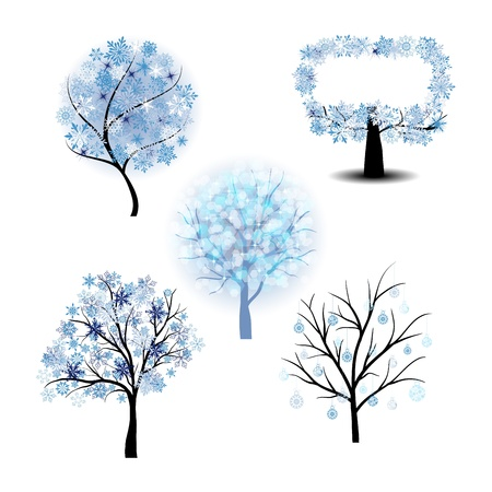 Winter tree set with snowflakes leaves.  Vector