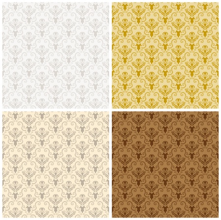 Damask seamless color pattern set. For easy making seamless pattern just drag all group into swatches bar, and use it for filling any contours. Stock Vector - 16298708