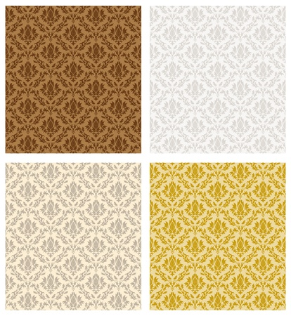 Damask seamless color pattern set. For easy making seamless pattern just drag all group into swatches bar, and use it for filling any contours.  Stock Vector - 16298710