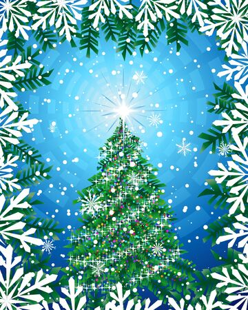 Christmas (New Year)  background illustration.  Vector