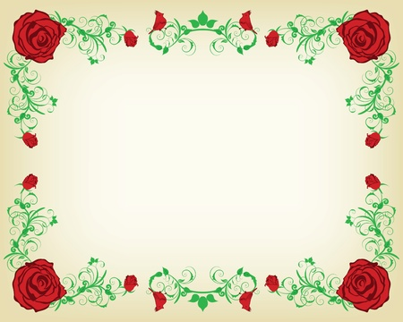 wit: Vintage floral frame wit flowers. illustration. Illustration