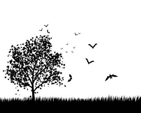 Lonely  maple tree in the meadow with flying bats. All objects are separated. Vector