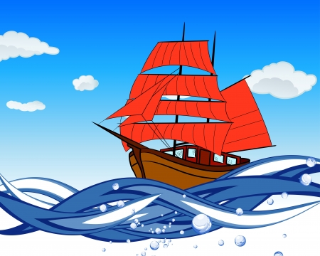 Sailboat with scarlet sail in a waves. illustration.
