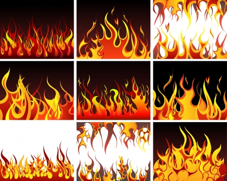 Big collection of fire elements. Fully editable illustration.