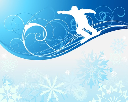 Sport background with snowboard athlete. illustration with mesh.