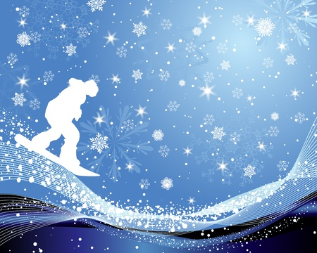 Sport background with snowboard athlete.  illustration with transparency and mesh. Vector