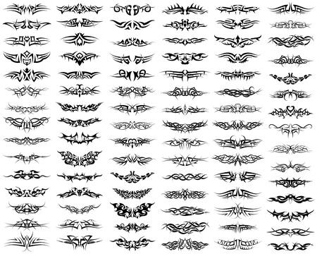 Patronen van tribal tattoo set Stock Illustratie