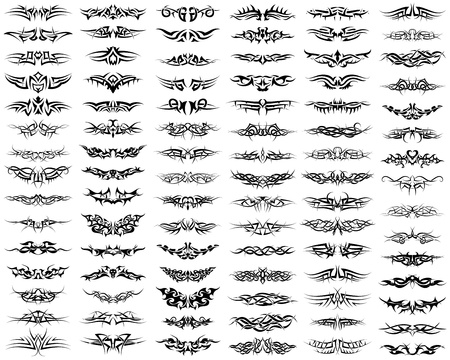 tattoo art: Patterns of tribal tattoo set