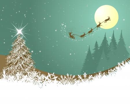 santa sleigh: Beautiful Christmas (New Year) card. illustration Illustration