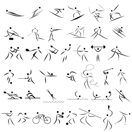 muscular build: Set of abstract sport icon. Fully editable illustration.