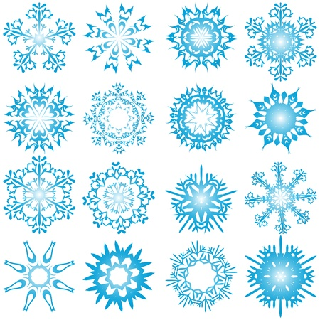 Set of winter frozen snowflakes. Fully editable version. Stock Vector - 17284327