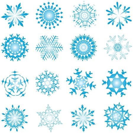 Set of winter frozen snowflakes. Fully editable version. Stock Vector - 17284326