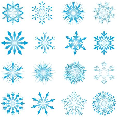 Set of winter frozen snowflakes. Fully editable version. Stock Vector - 17284370