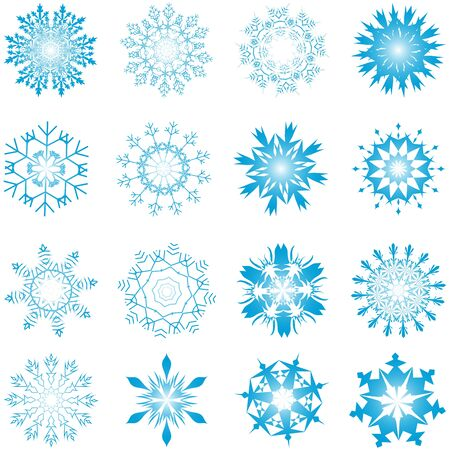 Set of winter frozen snowflakes. Fully editable version. Stock Vector - 17284372